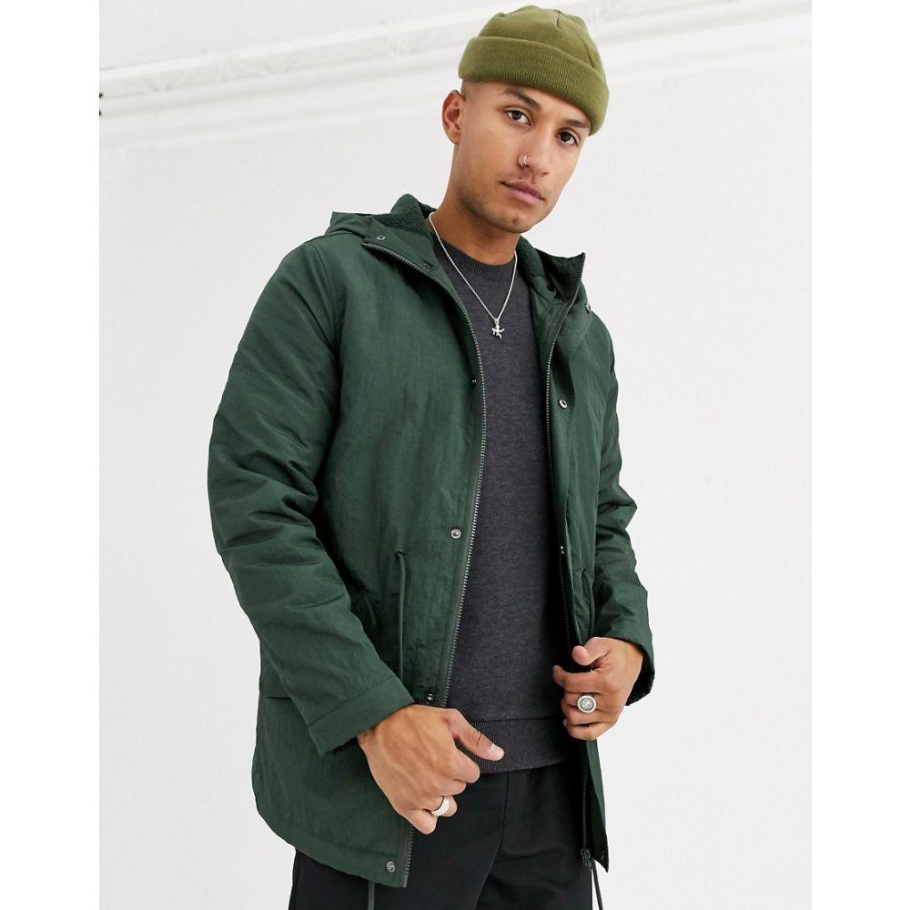エイソス ASOS DESIGN メンズ コート アウター【parka jacket in bottle green with fleece lining】Green