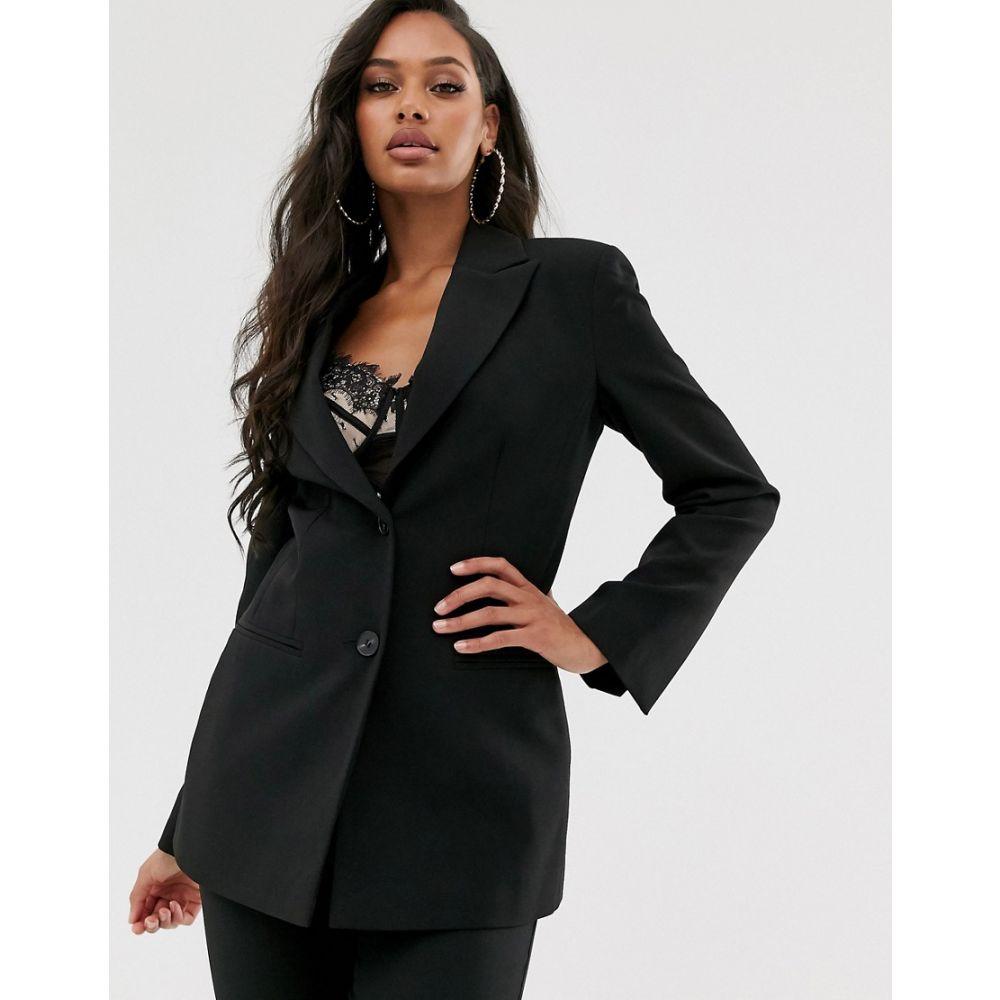 エイソス ASOS DESIGN レディース スーツ・ジャケット アウター【pop waisted suit blazer】Black