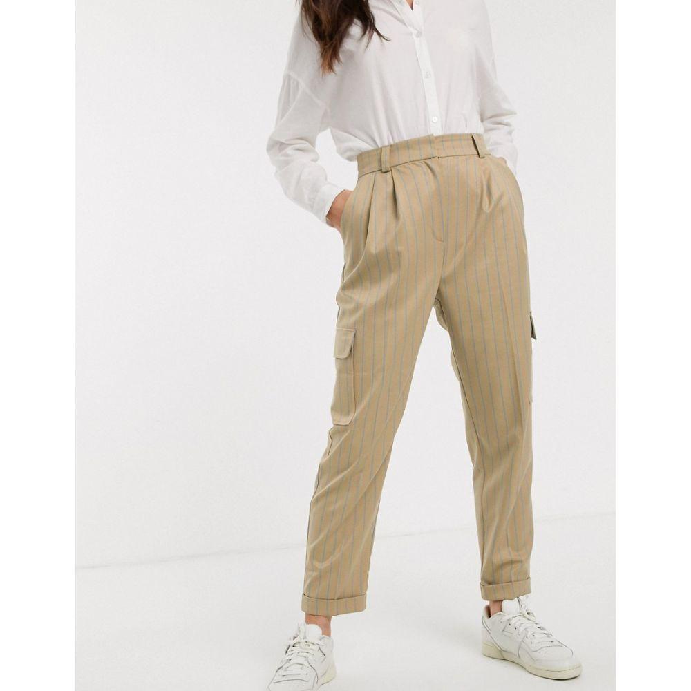 エイソス ASOS DESIGN レディース ボトムス・パンツ 【pinstripe utility pocket detail tapered trousers】Stripe