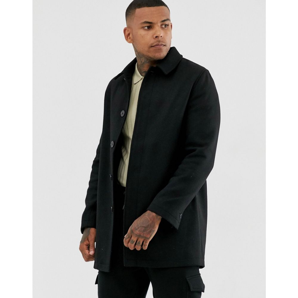 エイソス ASOS DESIGN メンズ トレンチコート アウター【wool mix trench coat in black】Black