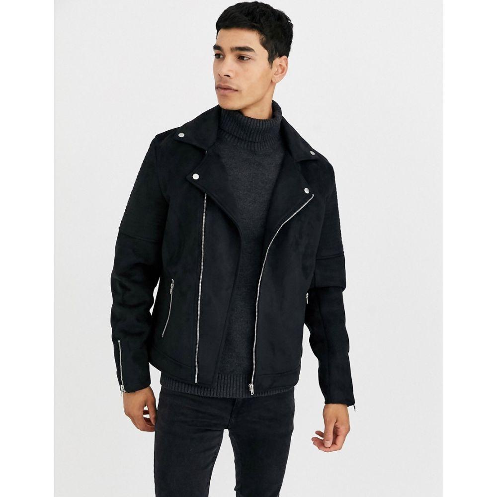 エイソス ASOS DESIGN メンズ レザージャケット ライダース アウター【faux suede biker jacket in black】Black