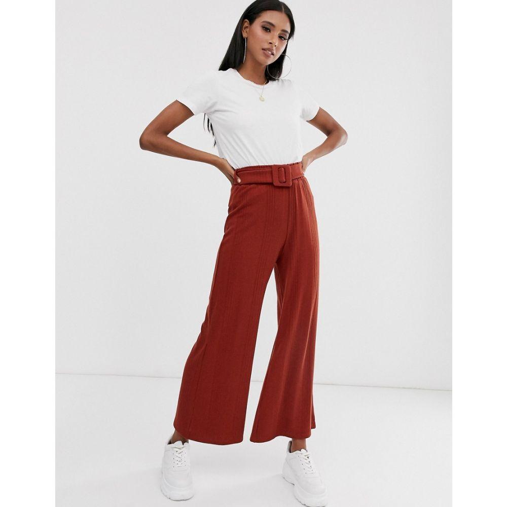 エイソス ASOS DESIGN レディース ボトムス・パンツ ワイドパンツ【rib wide leg trouser with self covered belt】Brown