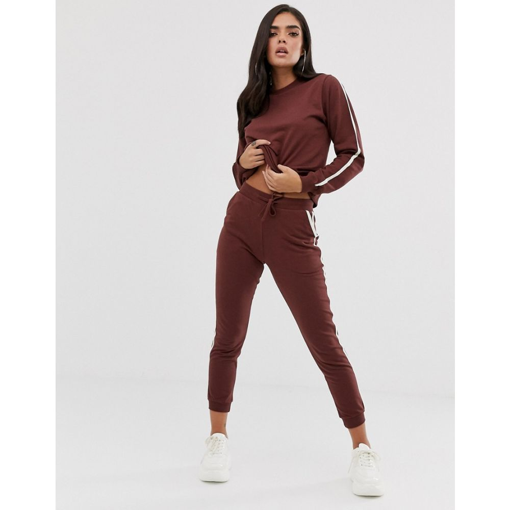 エイソス ASOS DESIGN レディース ジョガーパンツ ボトムス・パンツ【tracksuit cute sweat / basic jogger with tie with contrast binding】Chocolate