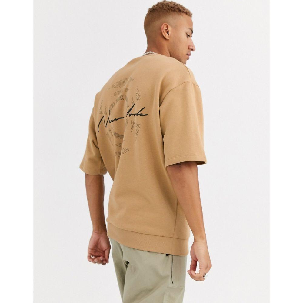 エイソス ASOS DESIGN メンズ スウェット・トレーナー トップス【oversized short sleeve beige sweatshirt with new york back print】Iced coffee