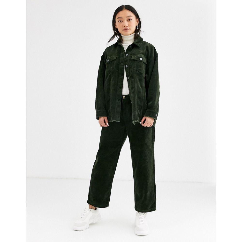 オンリー Only レディース ボトムス・パンツ ワイドパンツ【wide leg cord trousers in green】Green