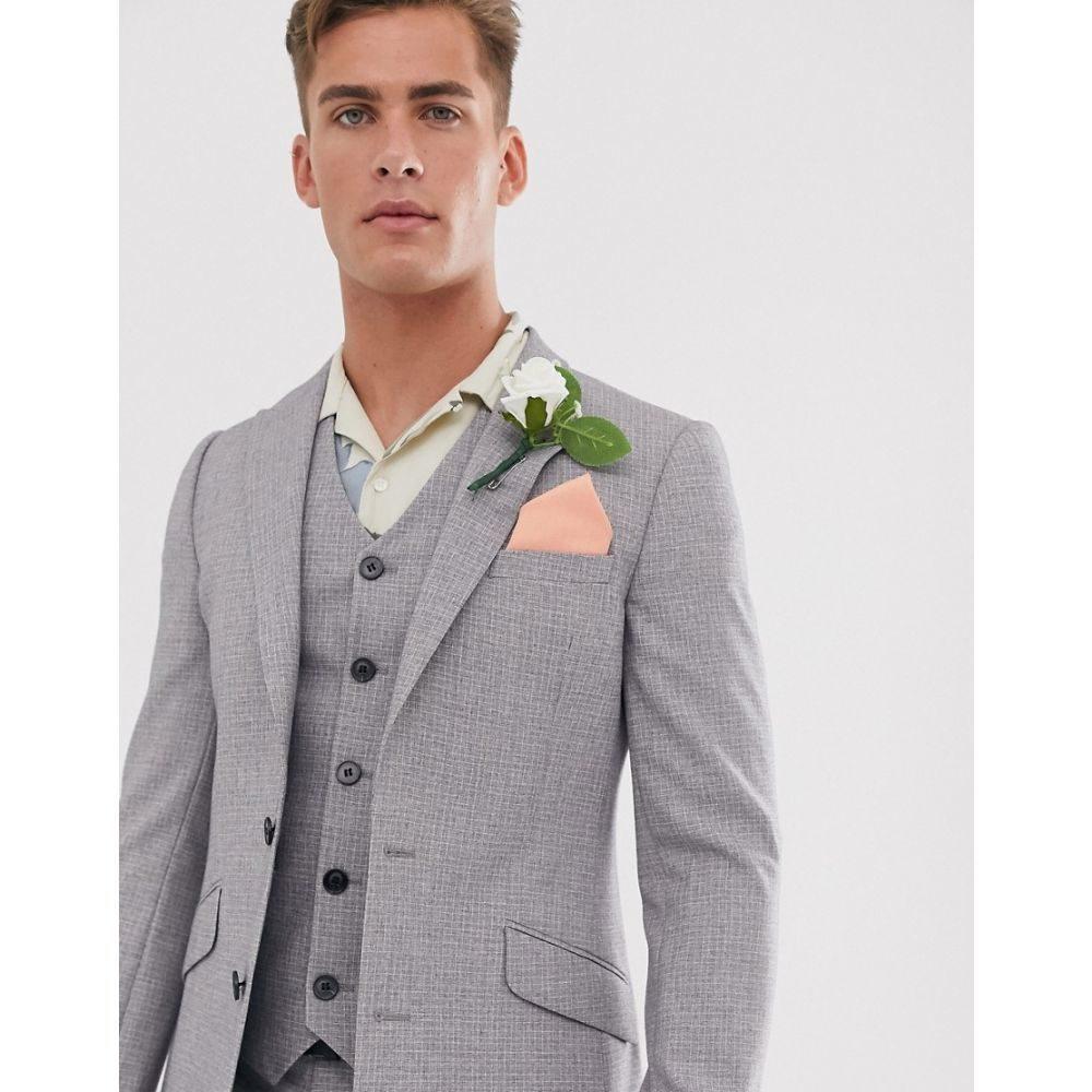 エイソス ASOS DESIGN メンズ スーツ・ジャケット アウター【wedding skinny suit jacket in crosshatch in grey】Grey