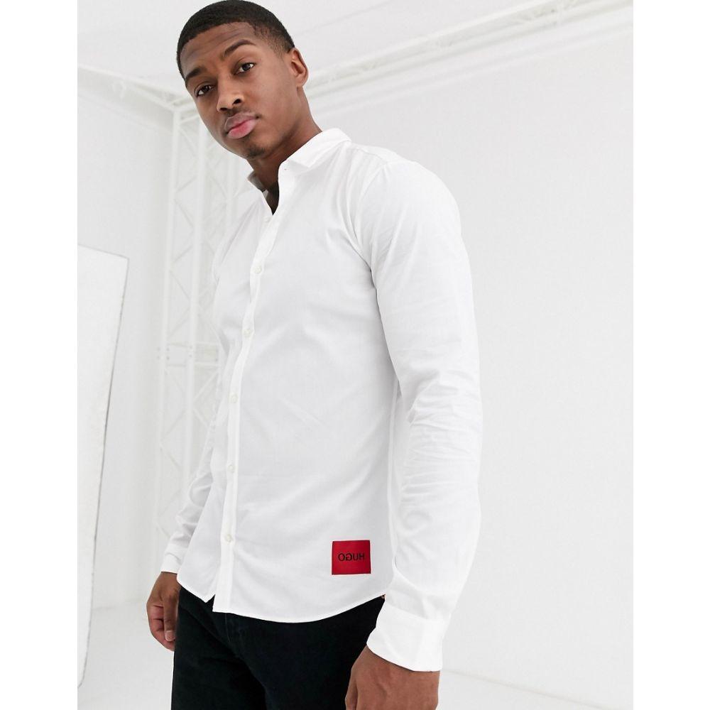 ヒューゴ ボス HUGO メンズ シャツ トップス【Ero3 slim fit shirt with contrast box logo in white】Open white