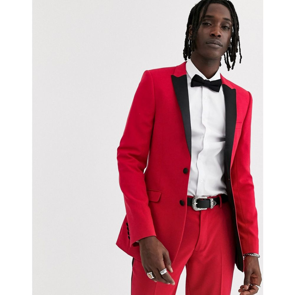 エイソス ASOS DESIGN メンズ スーツ・ジャケット タキシード アウター【super skinny tuxedo jacket in red】Red