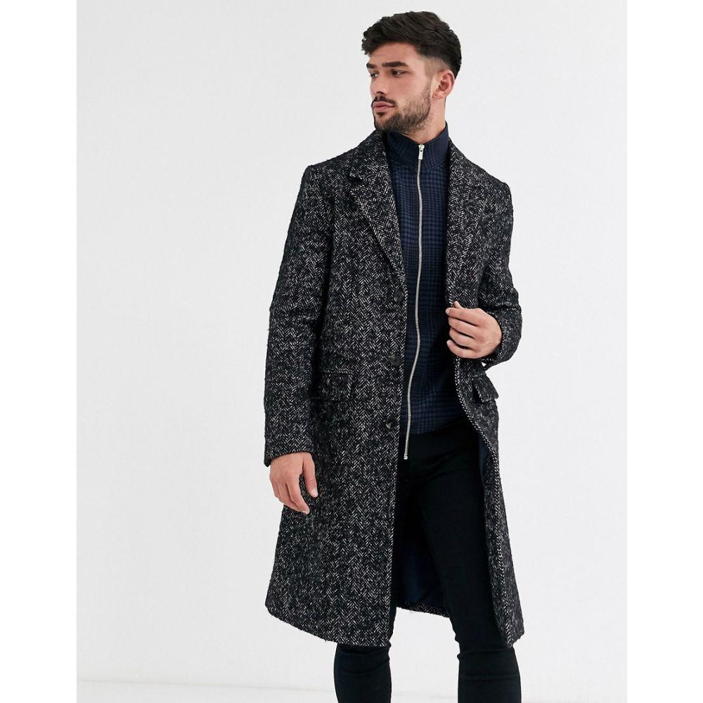 リバーアイランド River Island メンズ コート アウター【overcoat in herringbone】Grey