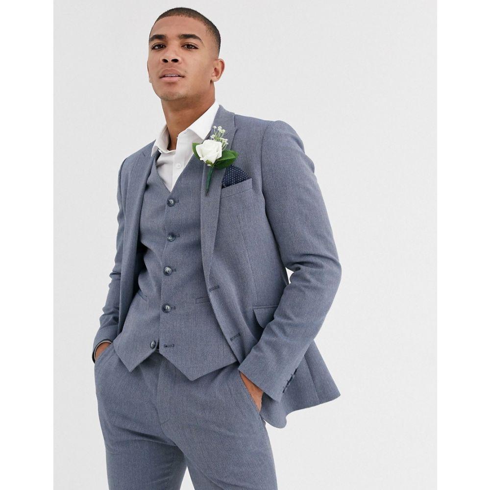 エイソス ASOS DESIGN メンズ スーツ・ジャケット アウター【wedding super skinny suit jacket in blue marl micro texture】Blue