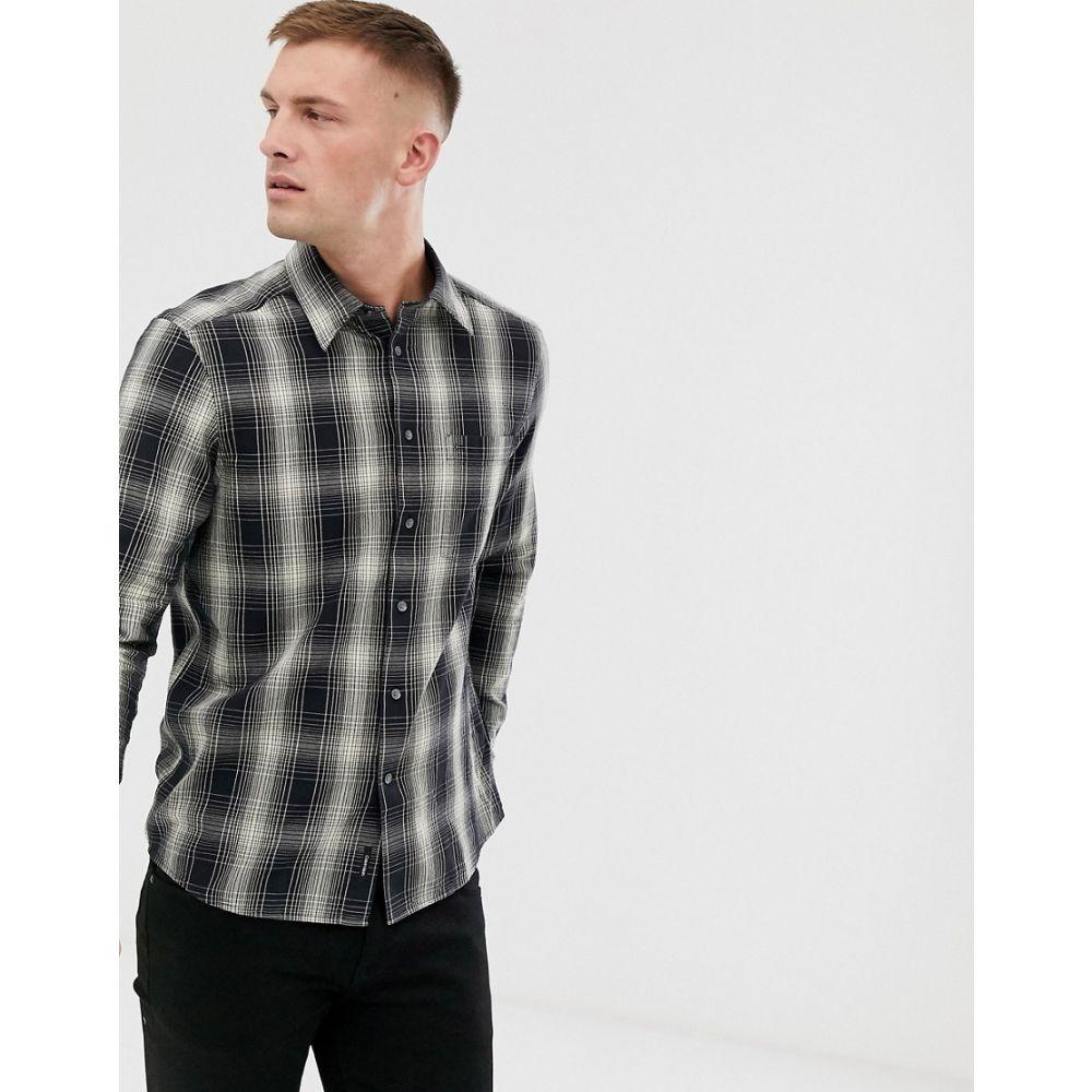 カルバンクライン Calvin Klein メンズ シャツ トップス【ombre check shirt in black】Refined ombr
