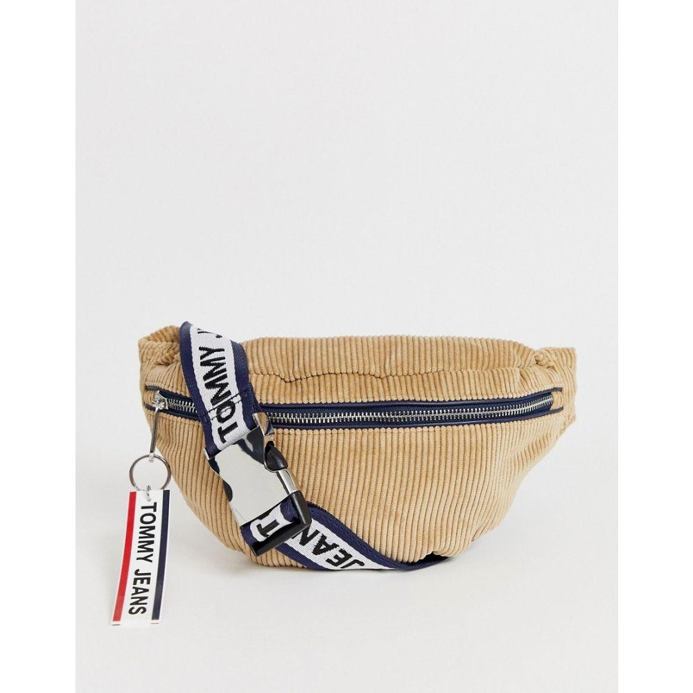 トミー ジーンズ Tommy Jeans メンズ ボディバッグ・ウエストポーチ バッグ【tommy jean cord bum bag in beige with logo taping】Beige
