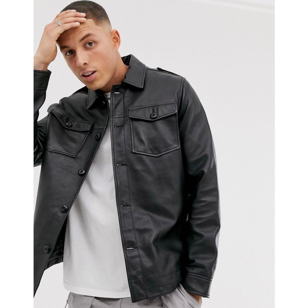 エイソス ASOS DESIGN メンズ ジャケット オーバーシャツ アウター【leather quilted overshirt in black】Black
