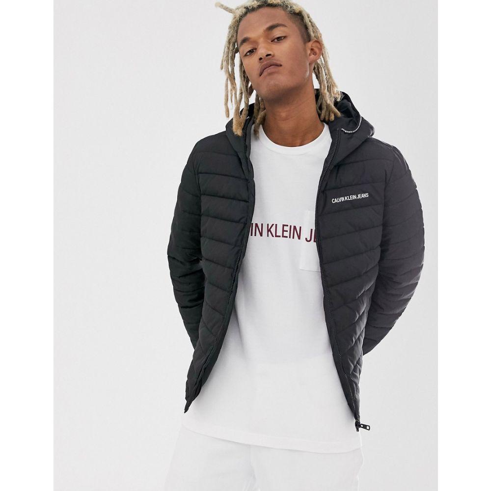 カルバンクライン Calvin Klein Jeans メンズ ダウン・中綿ジャケット アウター【padded hooded jacket in black with small logo】Ck black