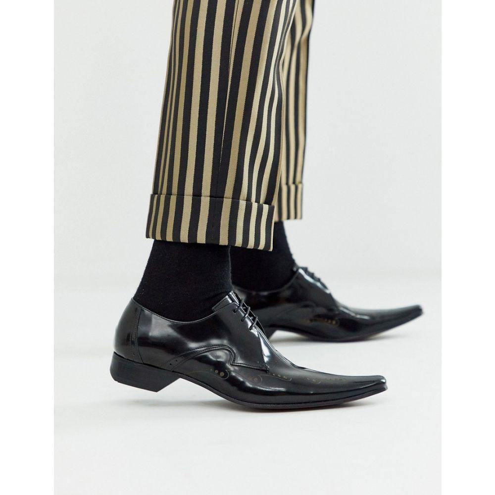 ジェフリー ウエスト Jeffery West メンズ シューズ・靴 【pino etched shoe in black leather】Black