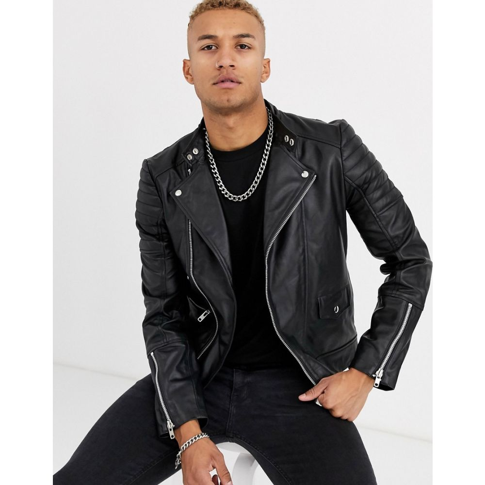 レリジョン Religion メンズ レザージャケット ライダース アウター【leather biker jacket in black】Black