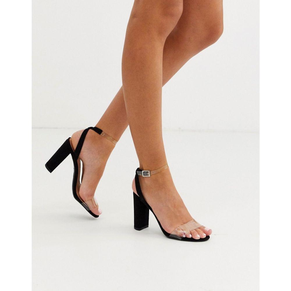 ニュールック New Look レディース サンダル・ミュール シューズ・靴【clear strap heeled sandals in black】Black