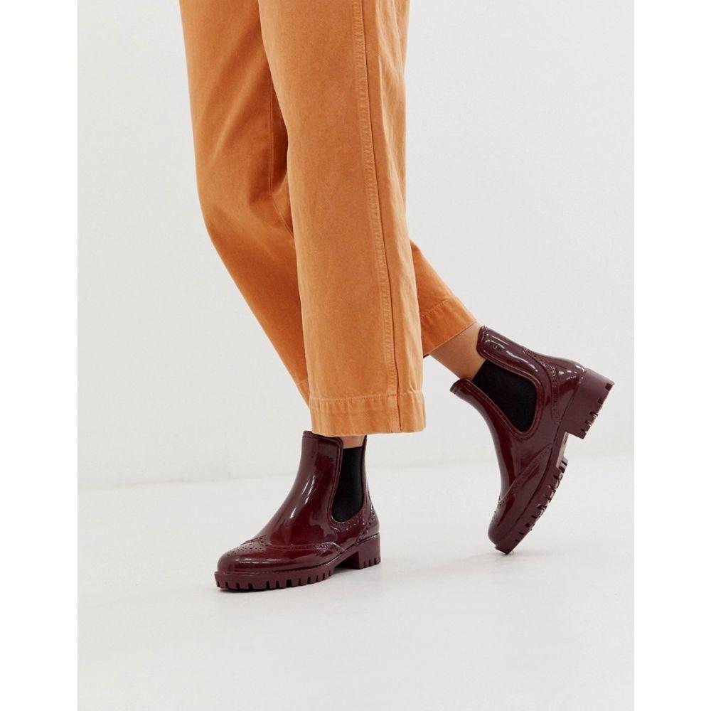バッファロー Buffalo レディース ブーツ ショートブーツ シューズ・靴【rubber ankle boots in burgandy】Red