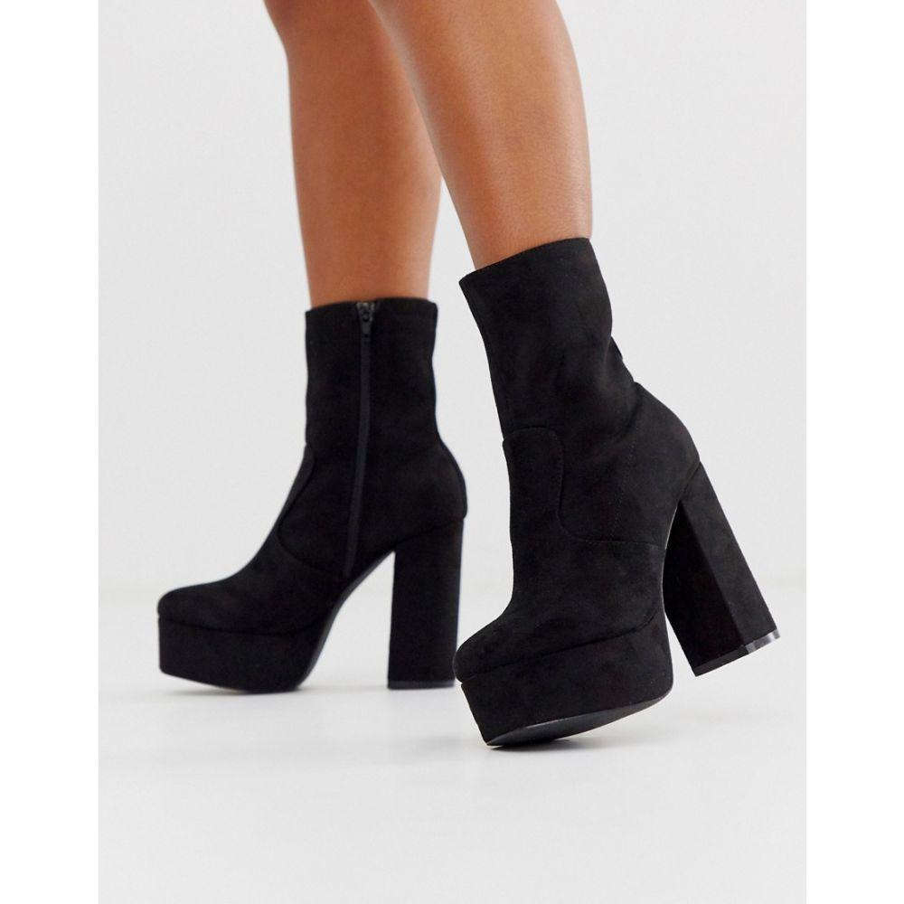 トリュフコレクション Truffle Collection レディース ブーツ シューズ・靴【platform block heel boot in black】Black micro