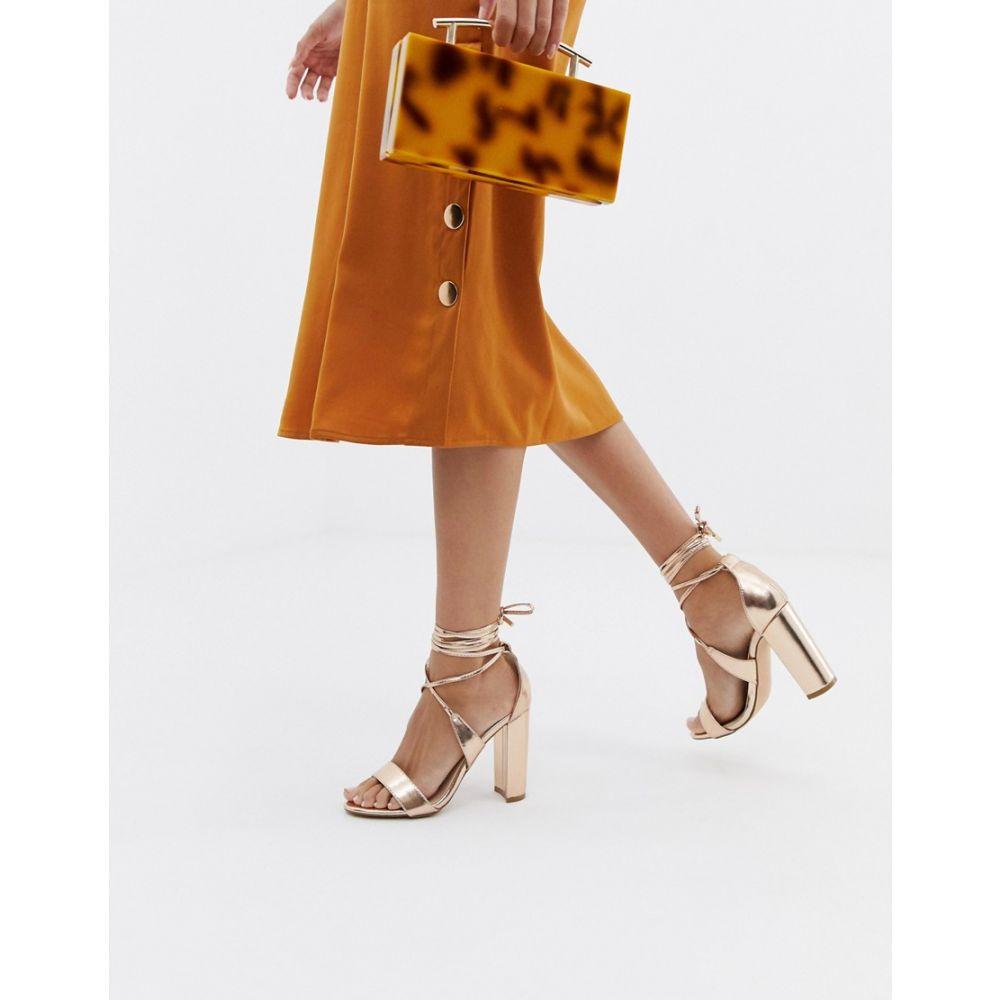 グラマラス Glamorous レディース サンダル・ミュール シューズ・靴【rose gold ankle tie block heeled sandals】Rose gold