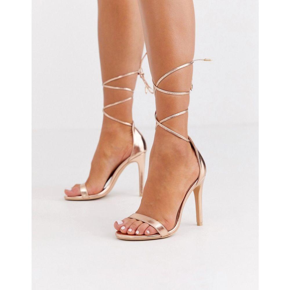 グラマラス Glamorous レディース サンダル・ミュール シューズ・靴【rose gold ankle tie heeled sandals】Rose gold