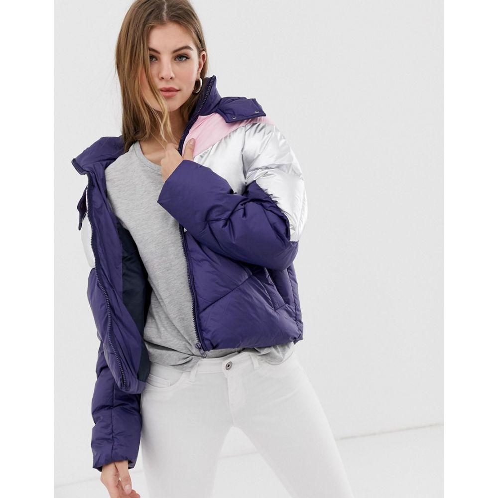 オンリー Only レディース ジャケット アウター【feather colourblock quilted hooded jacket】Blue