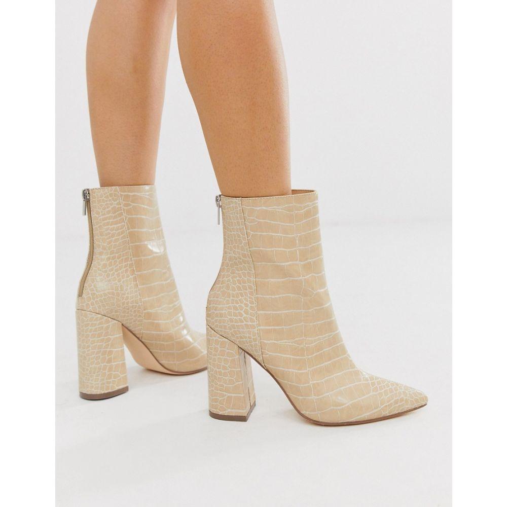 ロンドン レーベル London Rebel レディース ブーツ シューズ・靴【pointed block heeled boot in natural croc】Natural croc