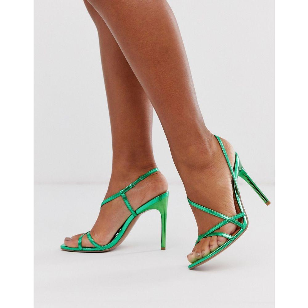 エイソス ASOS DESIGN レディース サンダル・ミュール シューズ・靴【notorious strappy heeled sandals in green metallic】Green metallic