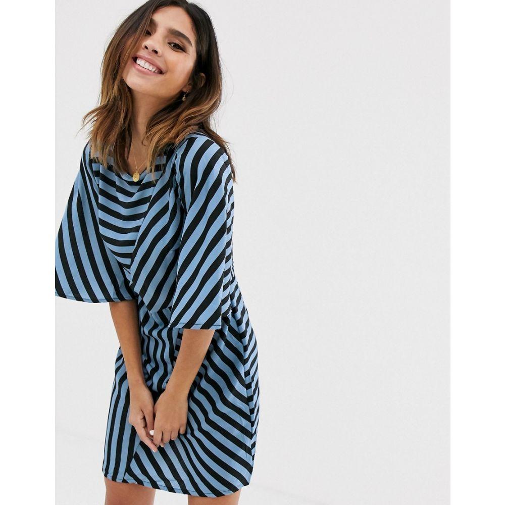 アックスパリス AX Paris レディース ワンピース ワンピース・ドレス【mix stripe dress with full sleeves】Blue