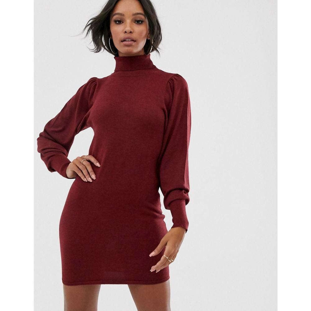 エイソス ASOS DESIGN レディース ワンピース ミニ丈 ワンピース・ドレス【roll neck mini dress with statement sleeve in recycled blend】Dark red