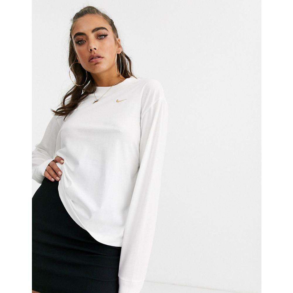 ナイキ Nike レディース 長袖Tシャツ トップス【white mini swoosh long sleeve t-shirt】White/gold