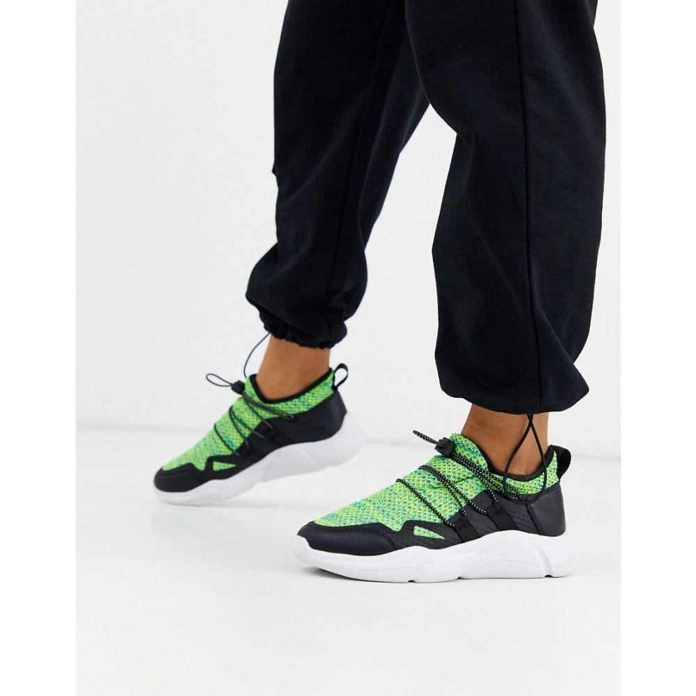 エイソス ASOS DESIGN レディース スニーカー シューズ・靴【division knitted trainers in black and green】Black/green