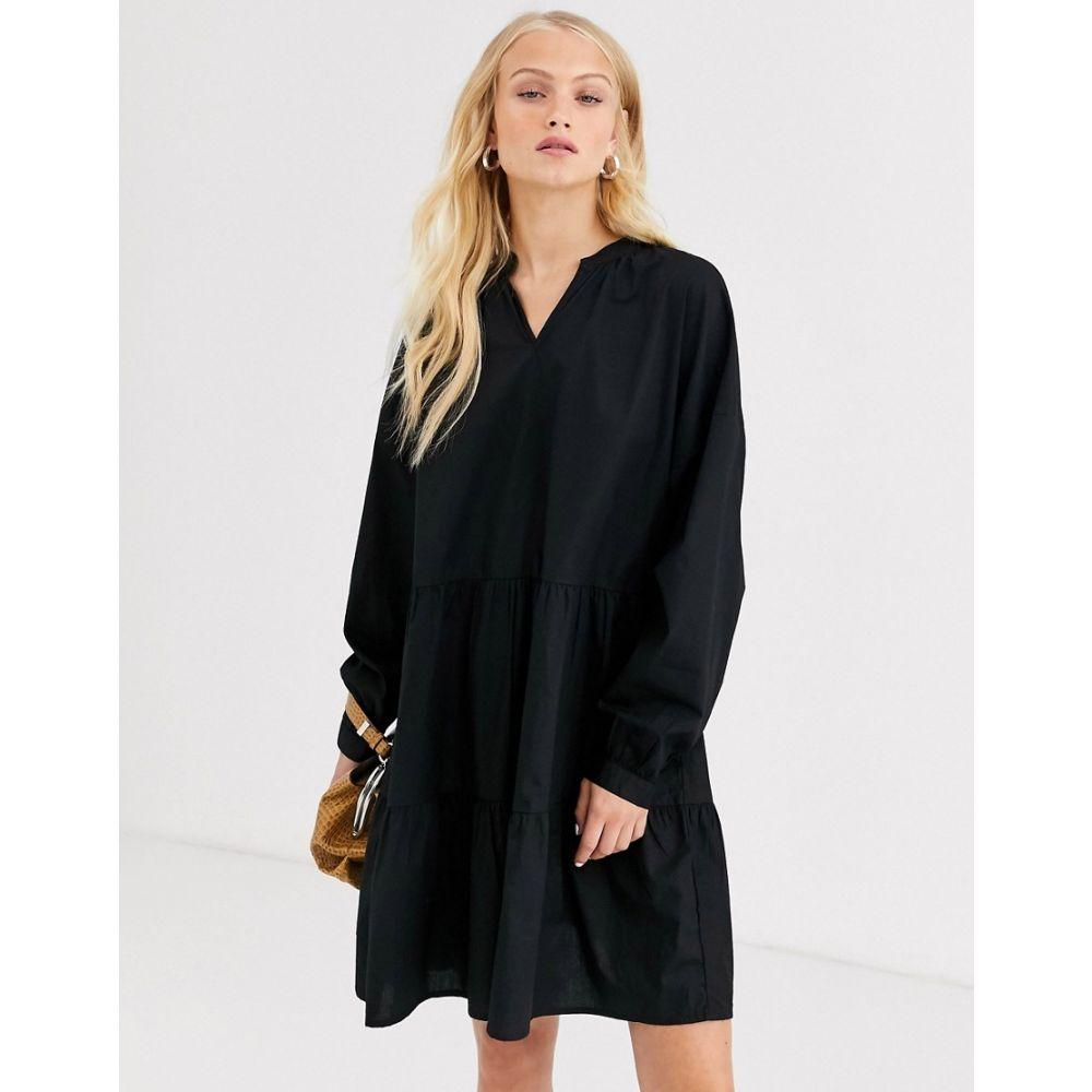 オンリー Only レディース ワンピース ミニ丈 ワンピース・ドレス【cotton smock mini dress】Black