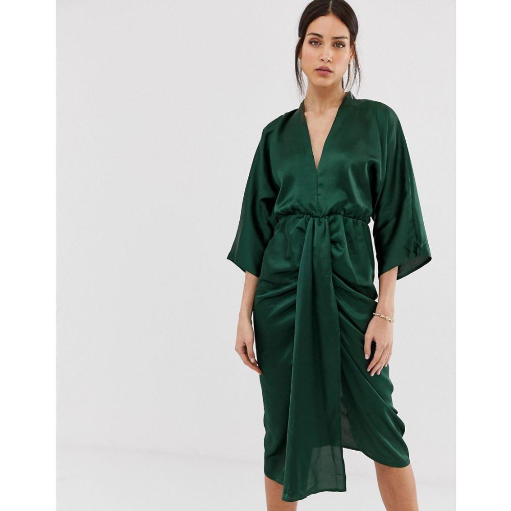 アックスパリス AX Paris レディース ワンピース ミドル丈 ワンピース・ドレス【satin midi dress】Green