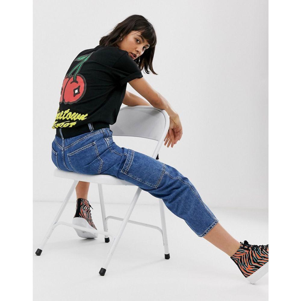 チャイナタウンマケット Chinatown Market レディース Tシャツ トップス【boyfriend t-shirt with cherries logo graphic】Black