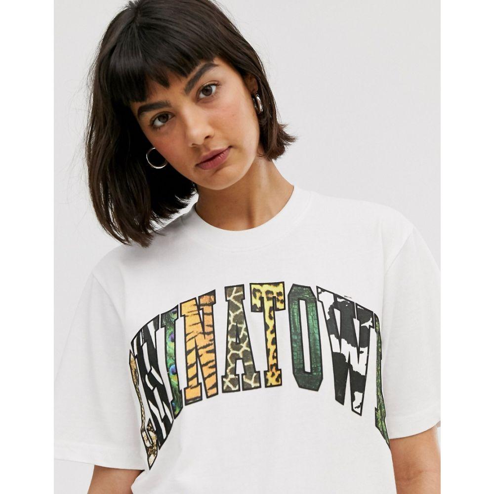チャイナタウンマケット Chinatown Market レディース Tシャツ トップス【boyfriend t-shirt with animal infill graphic】White