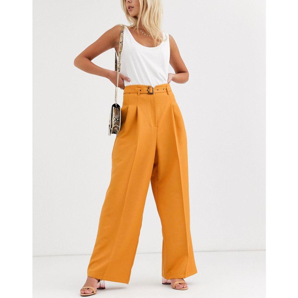 エイソス ASOS DESIGN レディース ボトムス・パンツ ワイドパンツ【belted pleat front wide leg trousers】Orange