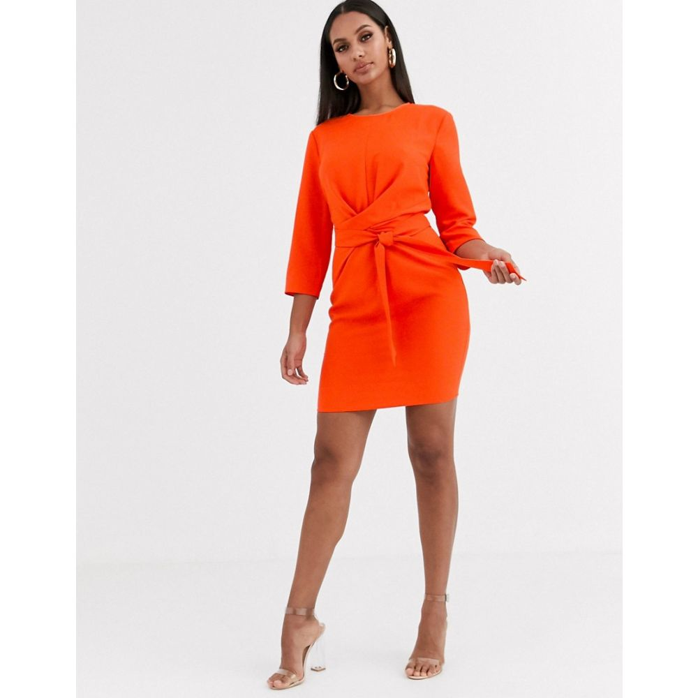 エイソス ASOS DESIGN レディース ワンピース ラップドレス ミニ丈 ワンピース・ドレス【tie wrap around mini dress】Blood orange