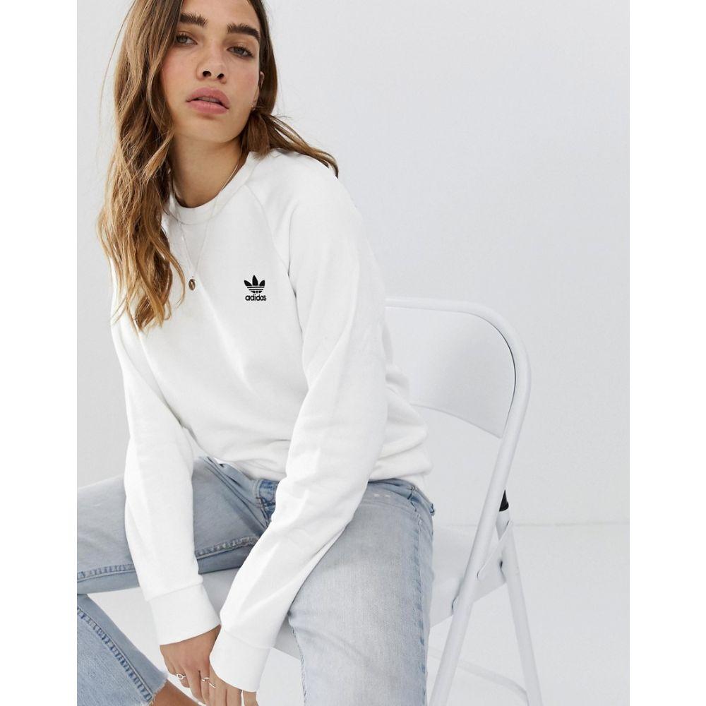 アディダス adidas Originals レディース スウェット・トレーナー トップス【essential crew neck sweat in white】White