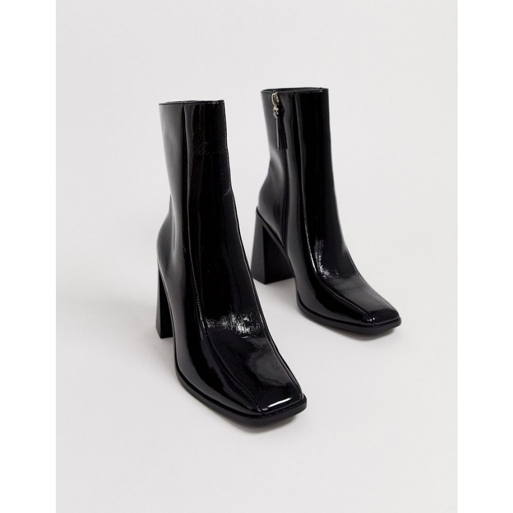 コー レン Co Wren レディース ブーツ シューズ・靴【patent block heeled boots in black】Black crinkle patent