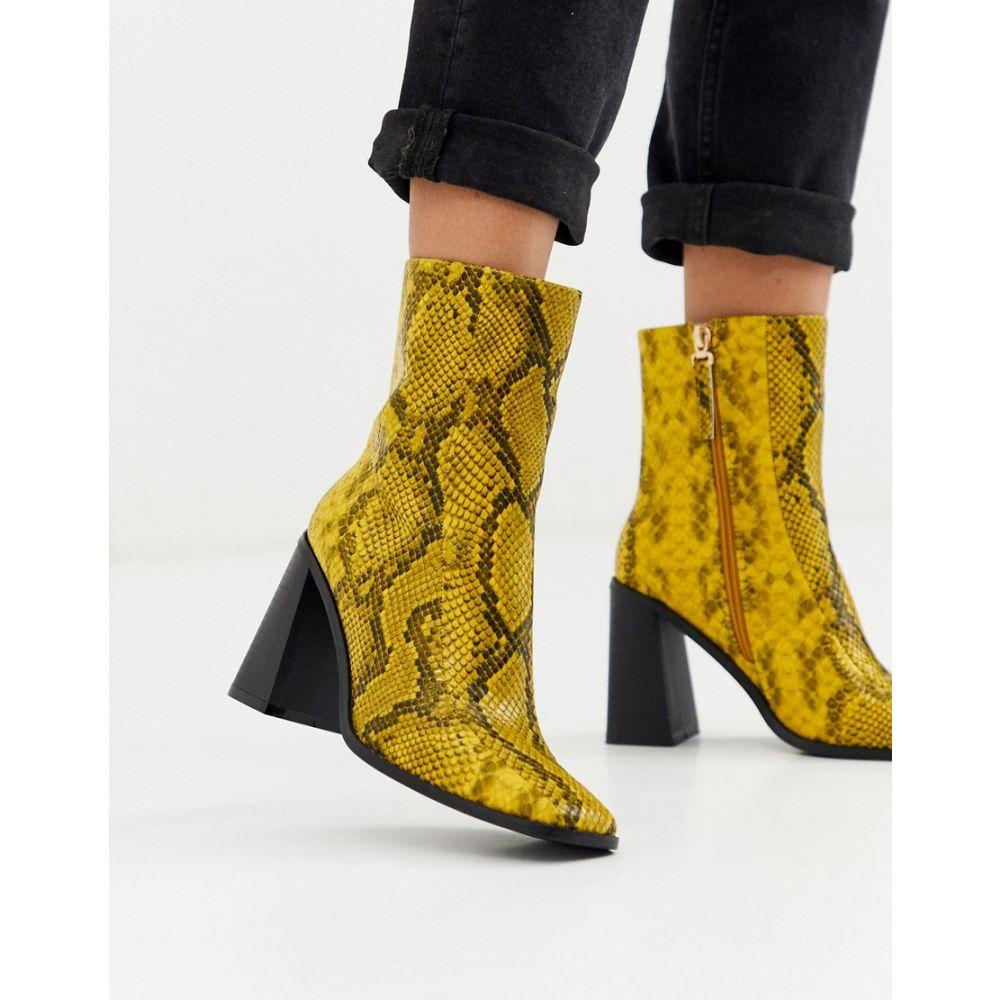 コー レン Co Wren レディース ブーツ シューズ・靴【block heeled boots in snake】Yellow snake