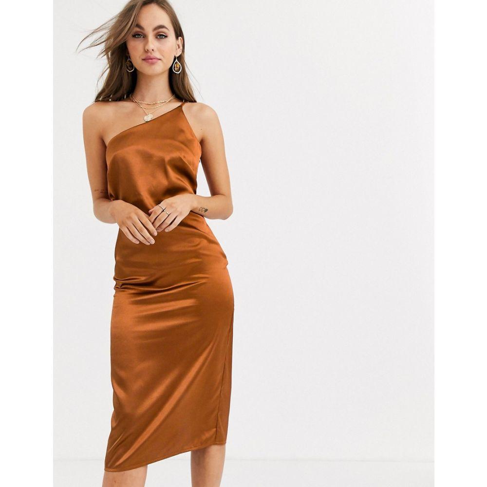 リトル ミストレス Little Mistress レディース ワンピース スリップドレス ワンピース・ドレス【one shoulder satin slip dress in rust】Rust