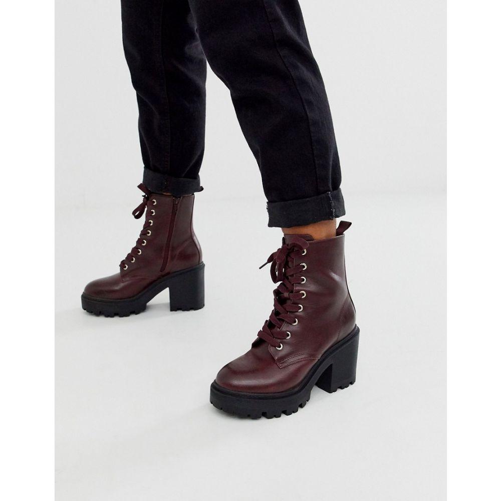 ニュールック New Look レディース ブーツ レースアップブーツ シューズ・靴【pu lace up heeled boot in burgundy】Burgundy