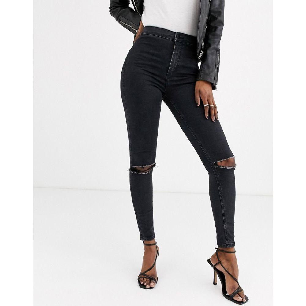トップショップ Topshop レディース ジーンズ・デニム ボトムス・パンツ【joni skinny jeans with rips in black】Washed black
