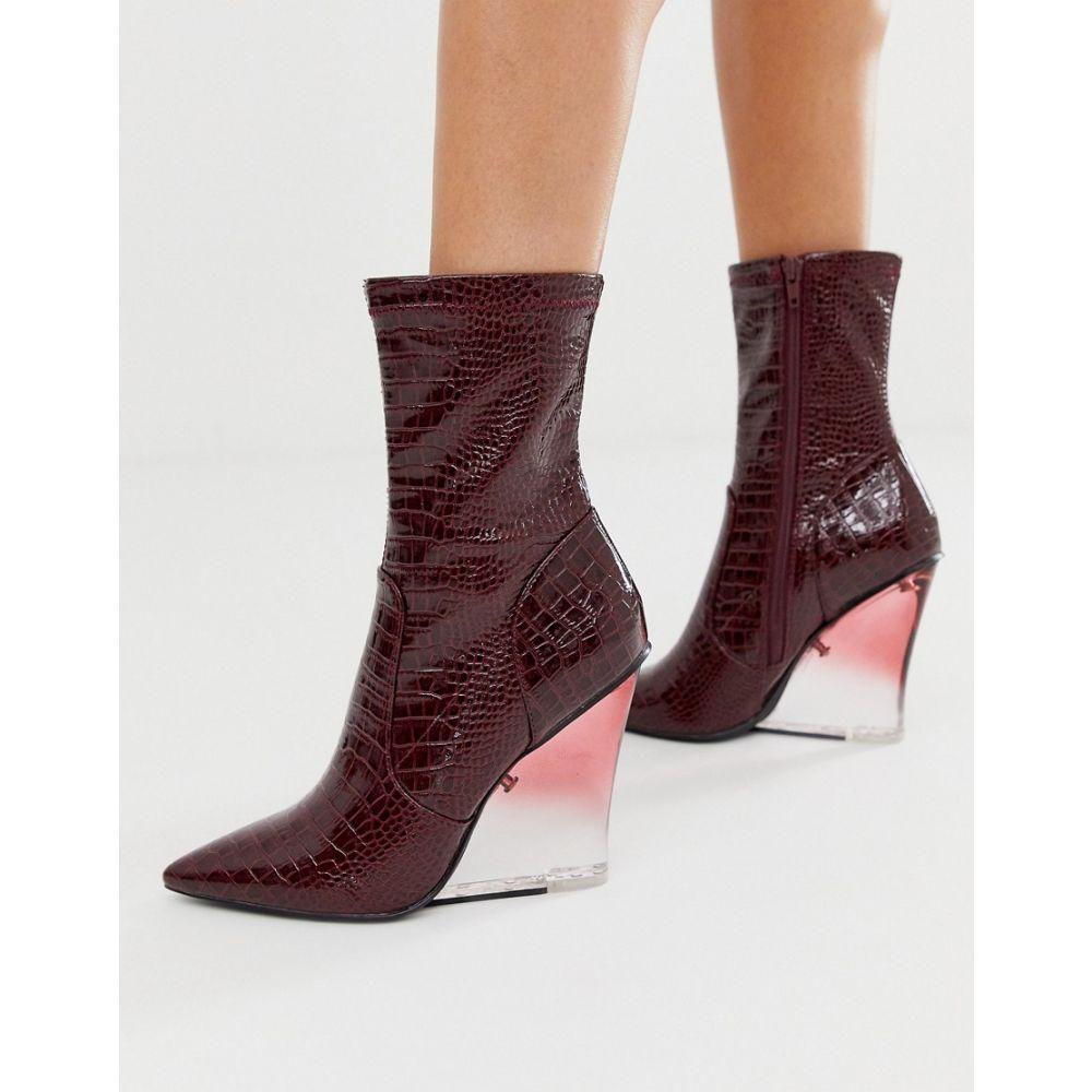 エイソス ASOS DESIGN レディース ブーツ ウェッジソール シューズ・靴【expectations high leg wedge boots in burgundy croc】Burgundy croc patent