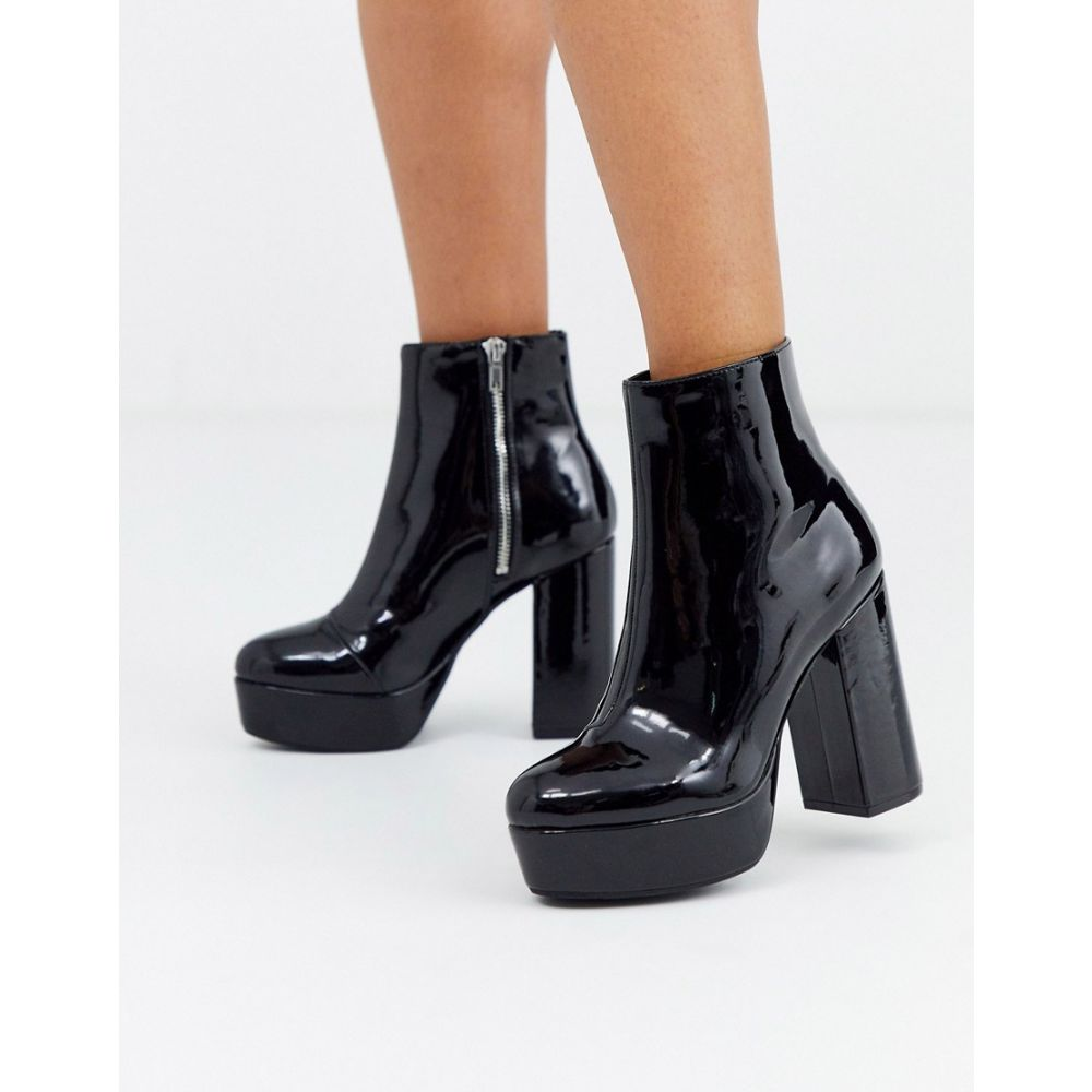 モンキー Monki レディース ブーツ シューズ・靴【platform faux leather high heel boots in black】Black