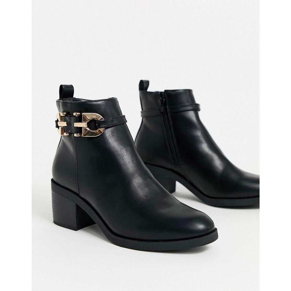 リバーアイランド River Island レディース ブーツ シューズ・靴【metalwork leather boots in black】Black