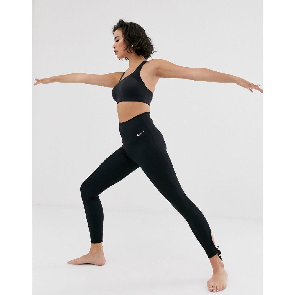 ナイキ Nike Training レディース スパッツ・レギンス インナー・下着【nike yoga leggings with tie detail in black】Black/white