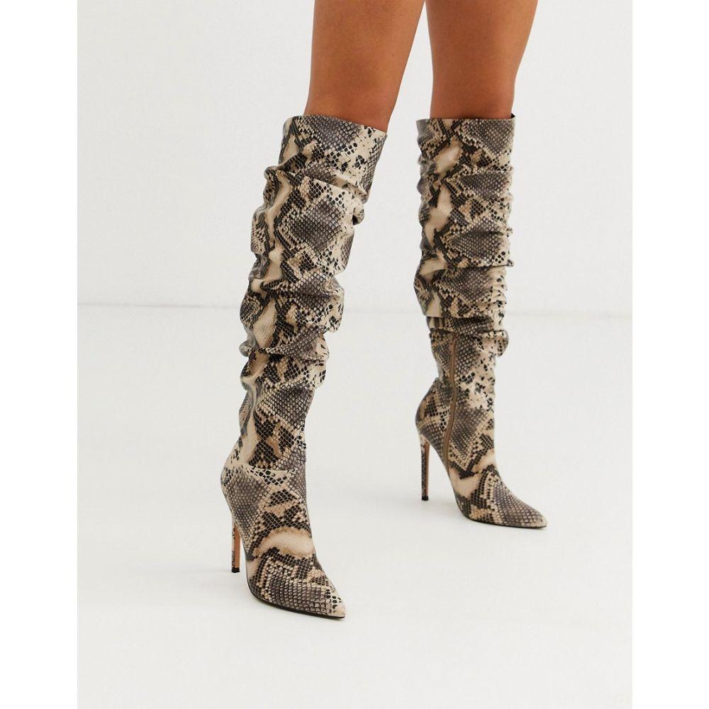 エイソス ASOS DESIGN レディース ブーツ ロングブーツ ピンヒール シューズ・靴【carlotta slouch stiletto knee boot in snake】Snake