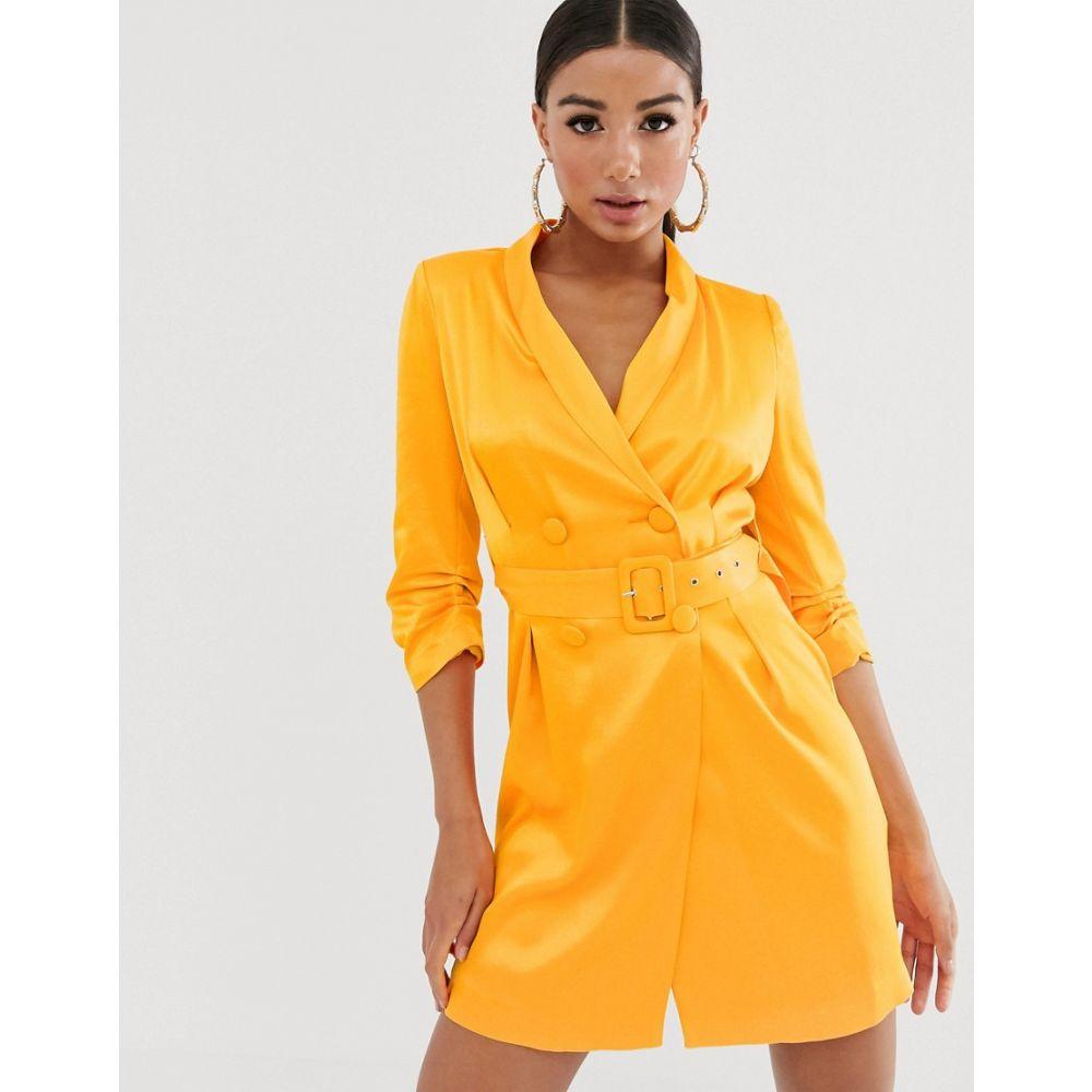 リバーアイランド River Island レディース スーツ・ジャケット ブレザードレス アウター【belted blazer dress in satin orange】Orange